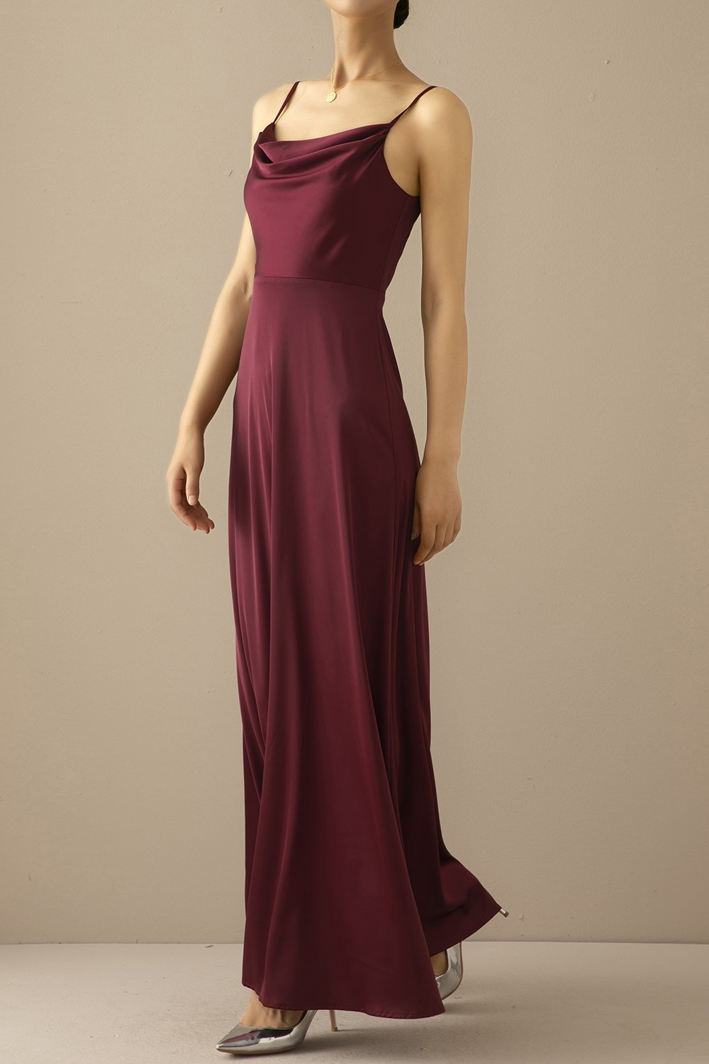 Burgundy Simple Long Bridesmaid Prom Dress