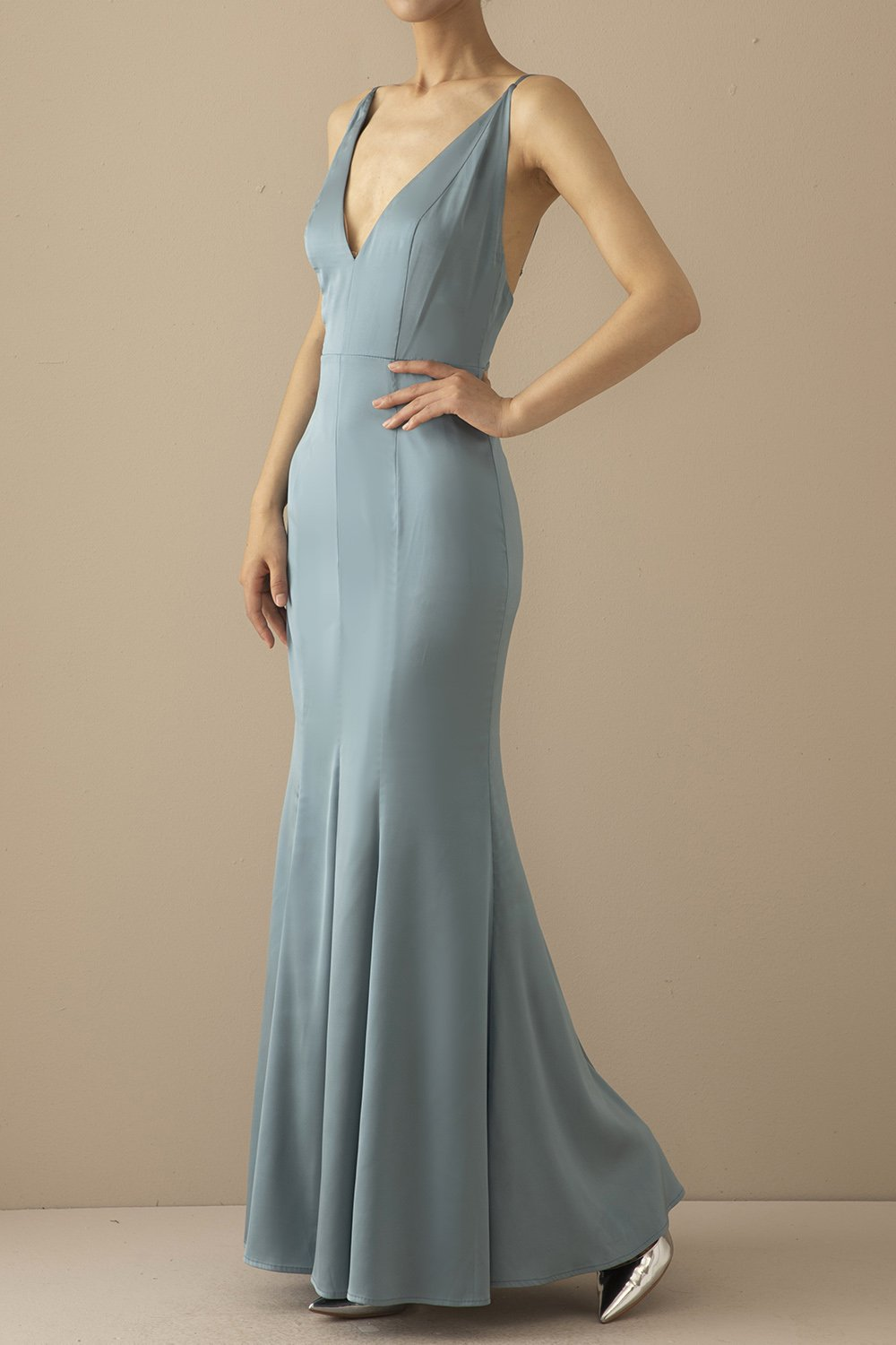 Mermaid Blue V Neck Long Prom Dress