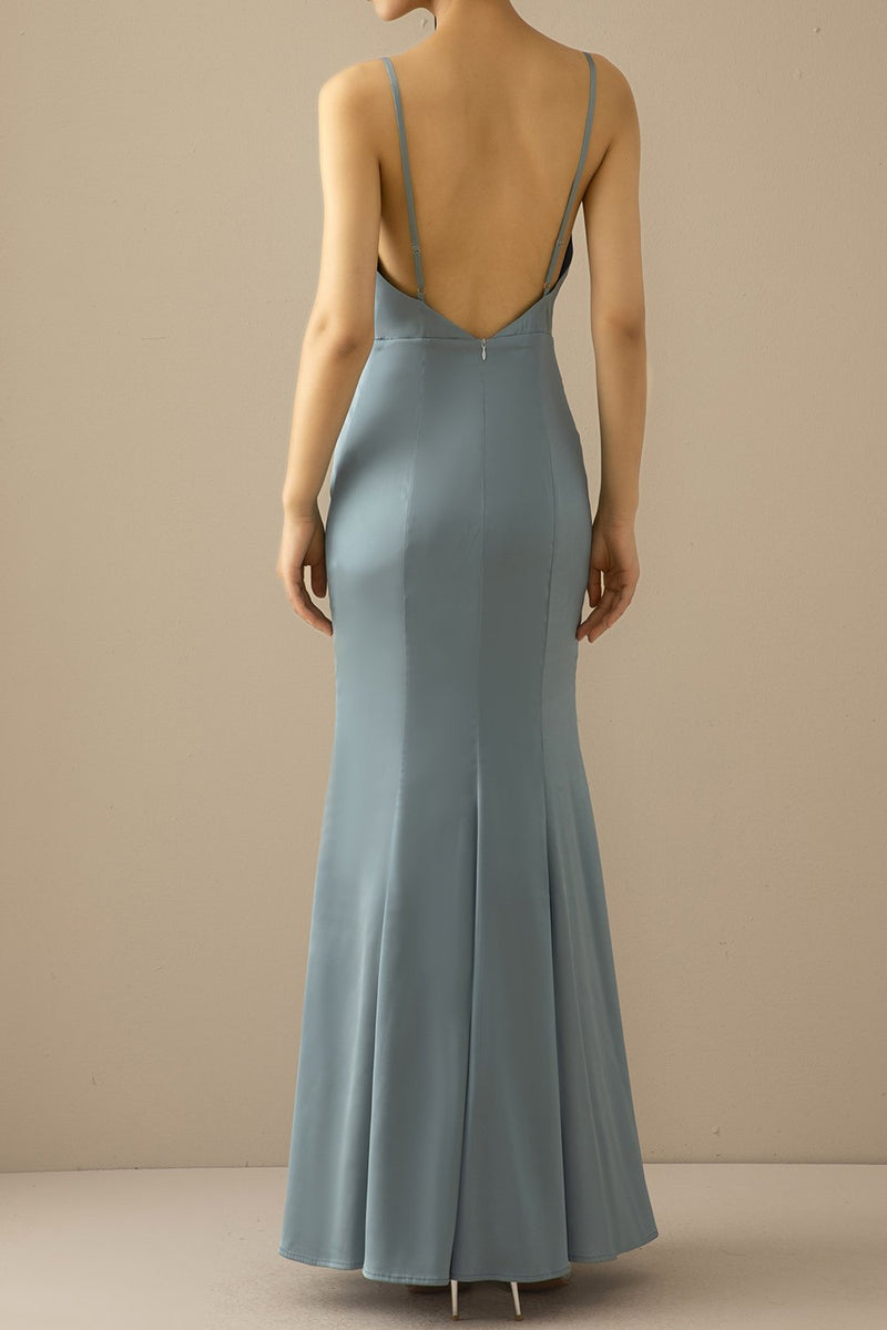 Load image into Gallery viewer, Mermaid Blue V Neck Long Prom Dress