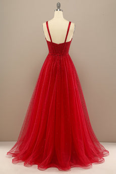 Beautiful Red Sweetheart Prom Dress with Beading