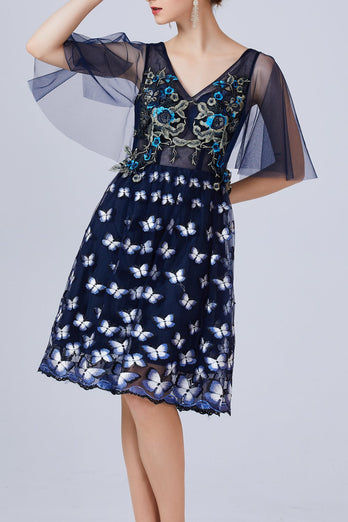 Navy Blue Butterfly Dress