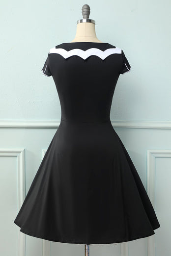 Black 1950S Bat Cape Swing Dress