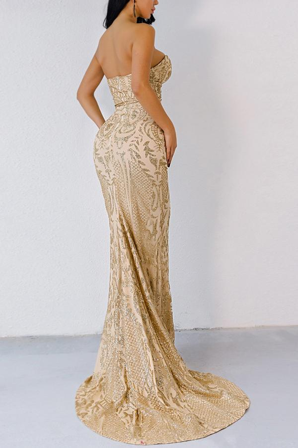 Load image into Gallery viewer, Gold Mermaid Sequins Dress