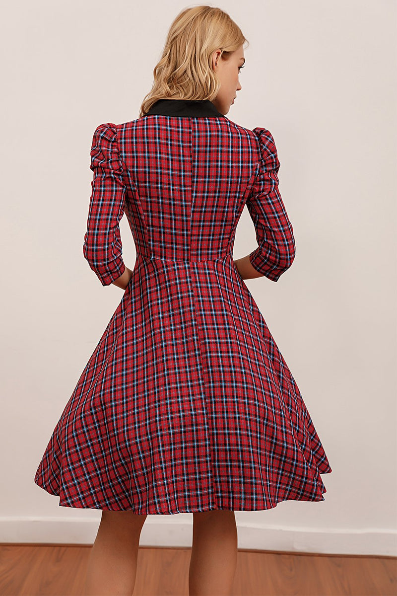Load image into Gallery viewer, Red Plaid Knee Length Dress