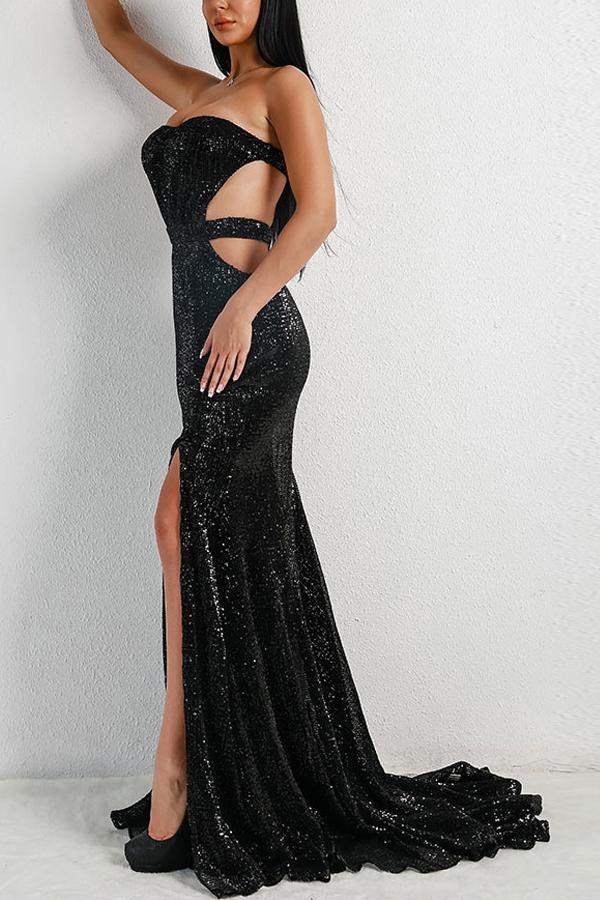 Load image into Gallery viewer, Sexy Black Mermaid Backless Sequin Prom Dress