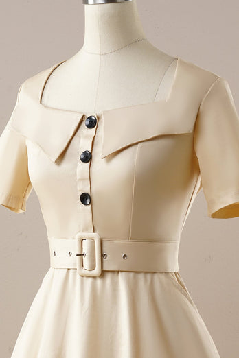Vintage Apricot Square Neck 1950s Dress