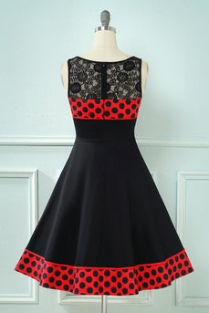 Polka Dots Vintage Dress with Lace