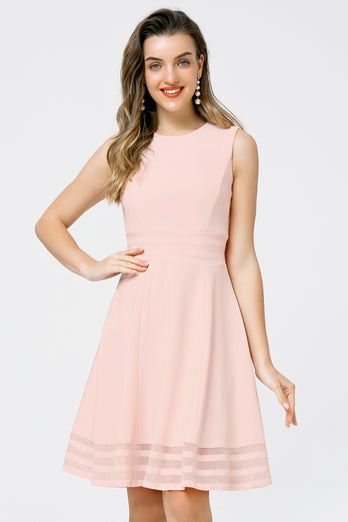 Solid Light Pink Midi Dress