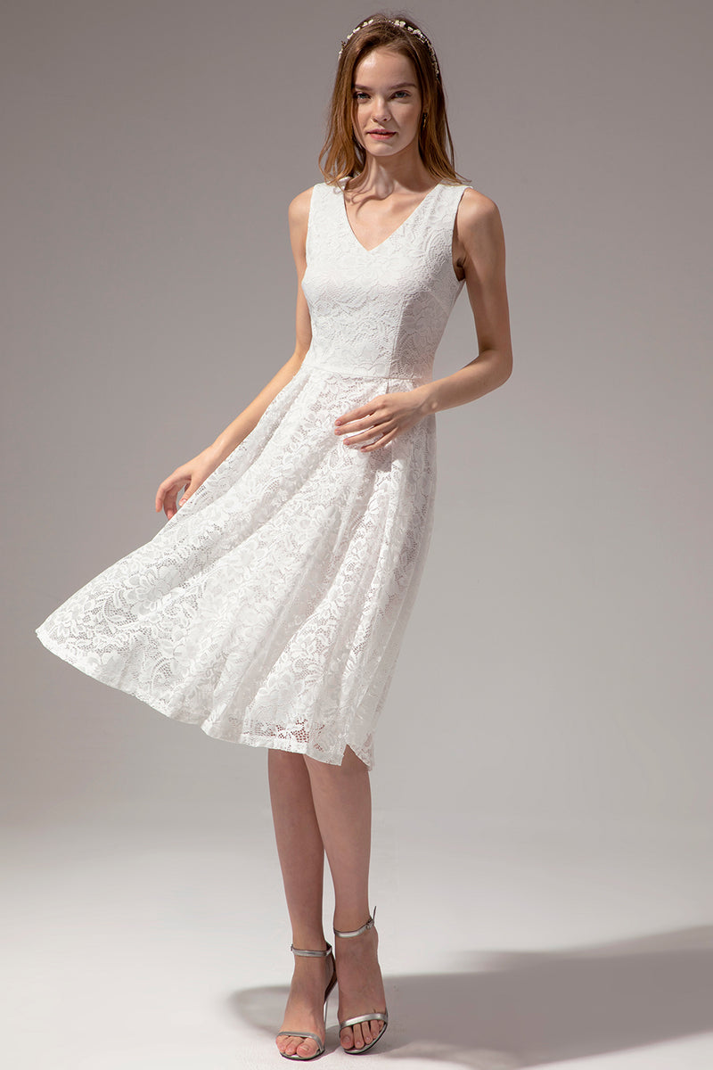 Load image into Gallery viewer, Midi White Lace Dress