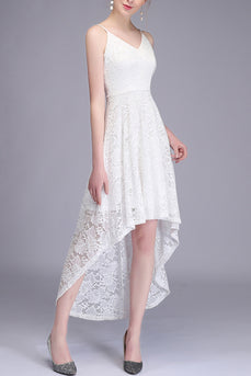 Straps Lace White Dress