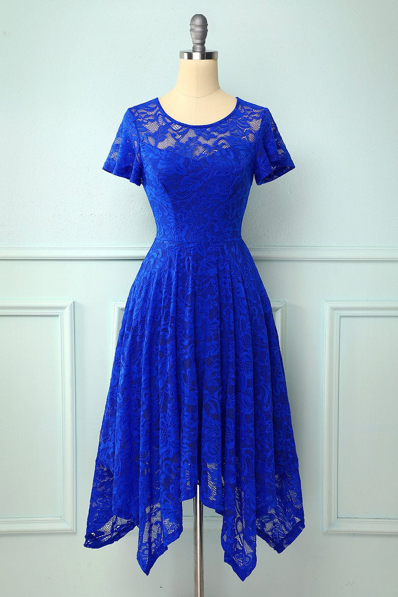 Load image into Gallery viewer, Royal Blue Asymmetrical Midi Dress