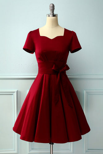 Burgundy Dress Asymmetrical Neck
