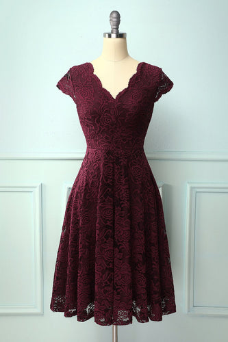Burgundy V Neck Midi Lace Dress