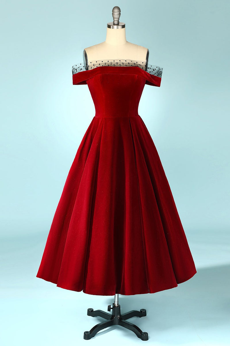 Load image into Gallery viewer, Burgundy Off the Shoulder Velvet Dress
