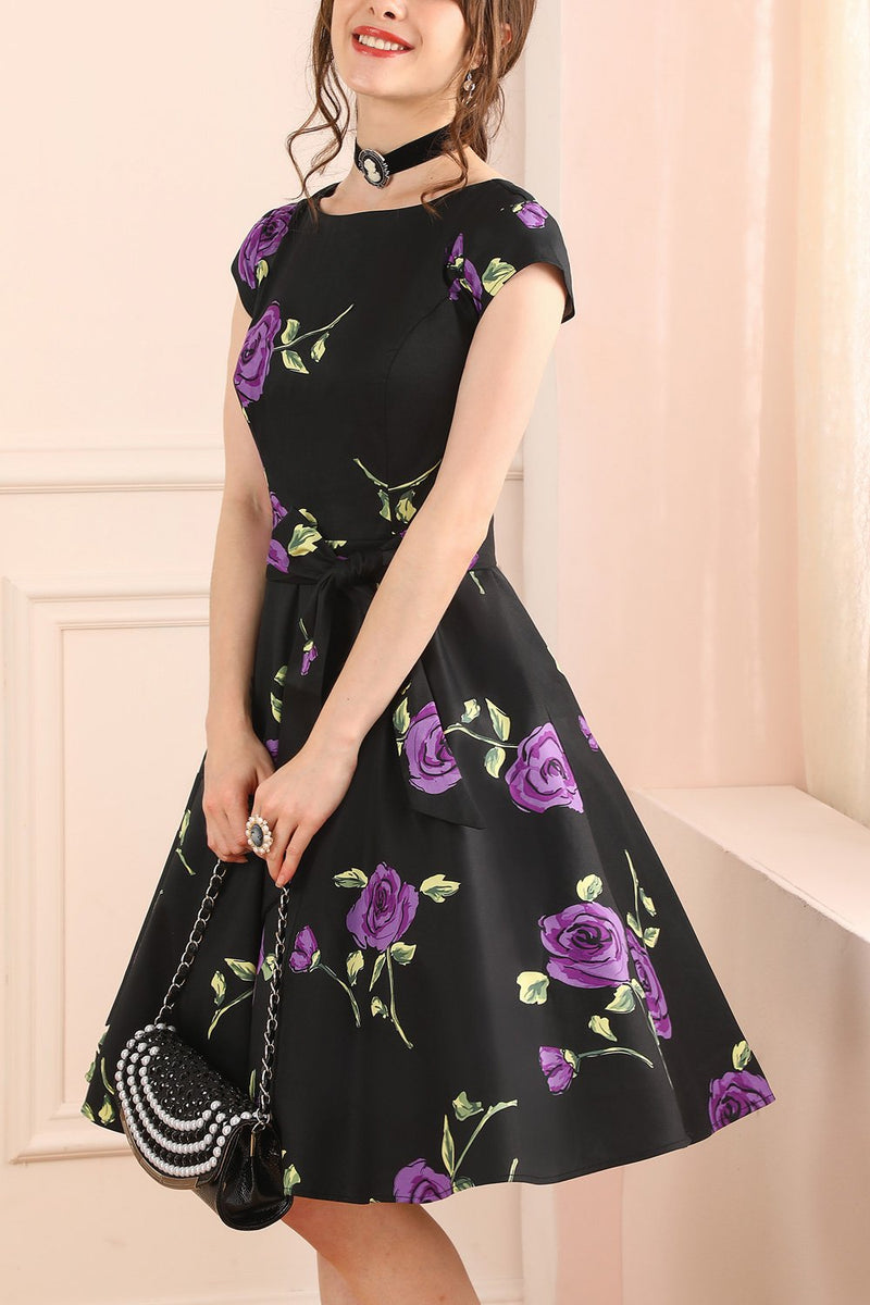 Load image into Gallery viewer, Black Purple Flower Dress