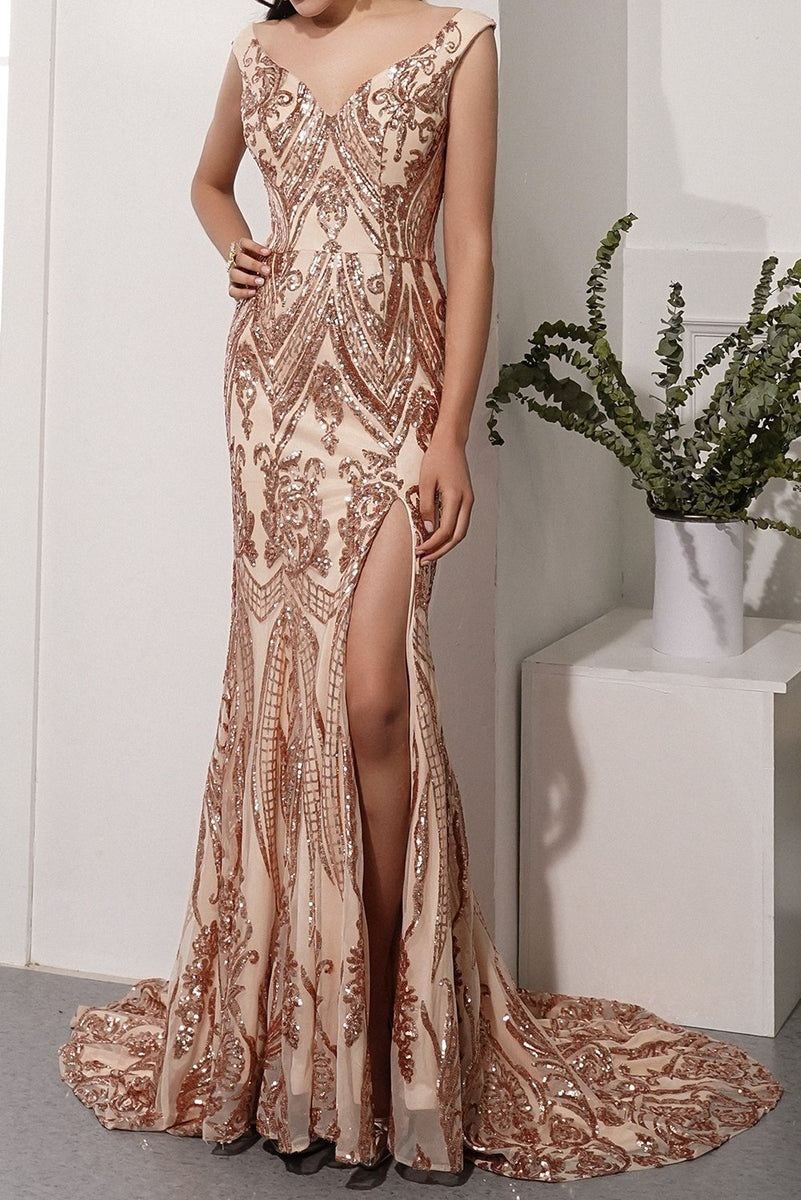 Load image into Gallery viewer, Champagne Sequins Long Prom Dress