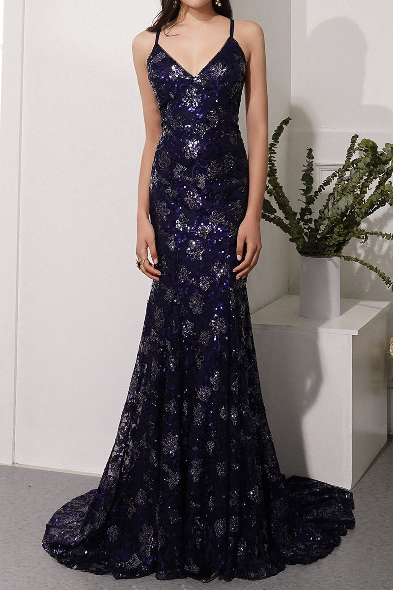 Load image into Gallery viewer, Navy Evening Dress with Beading Sequins
