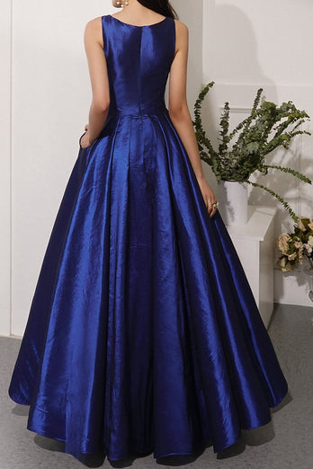 Navy Satin Prom Dress with Pockets