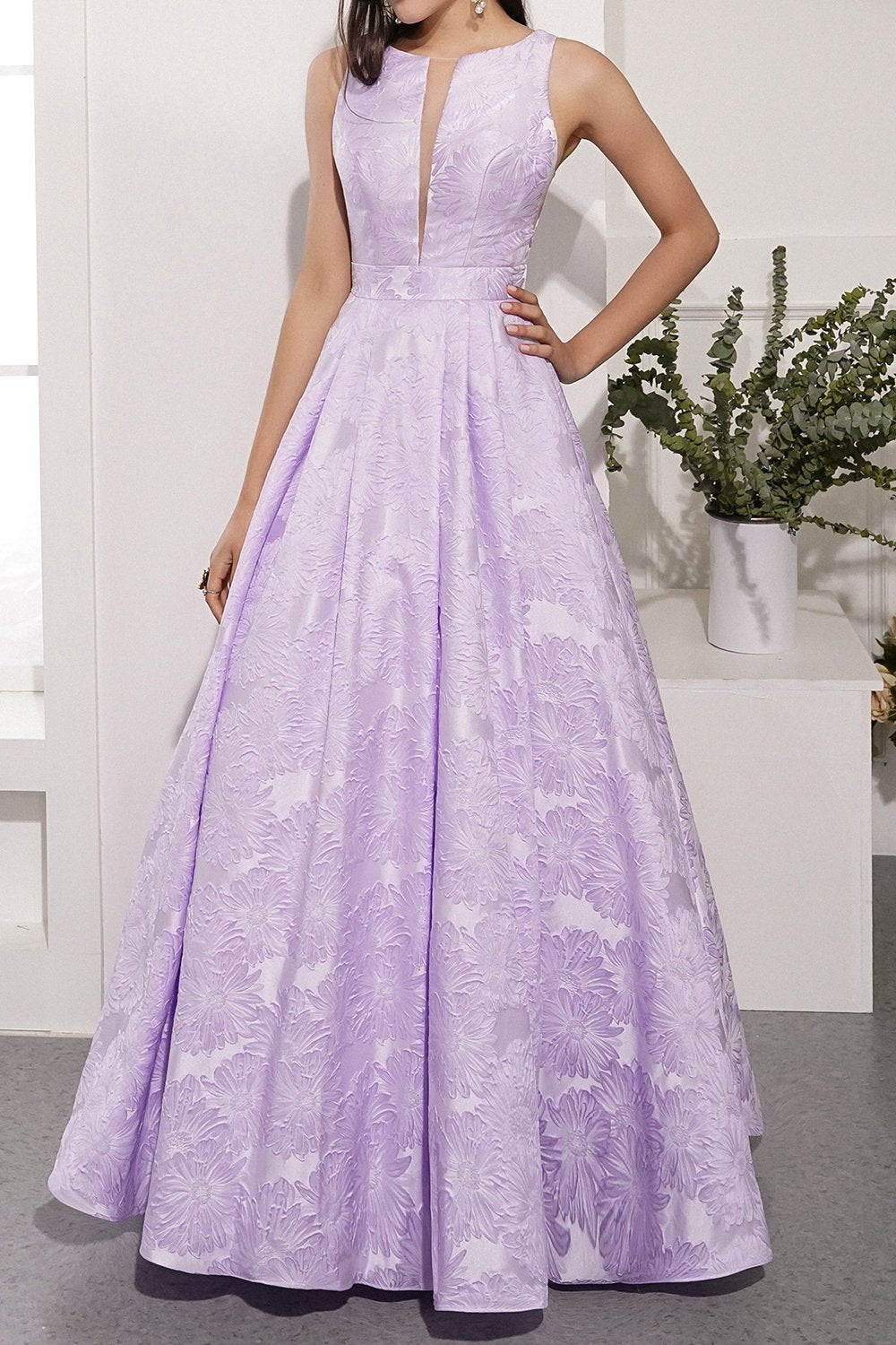 Lavender Satin Prom Dress