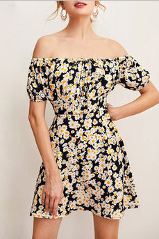 Black Off Shoulder Print Casual Dress