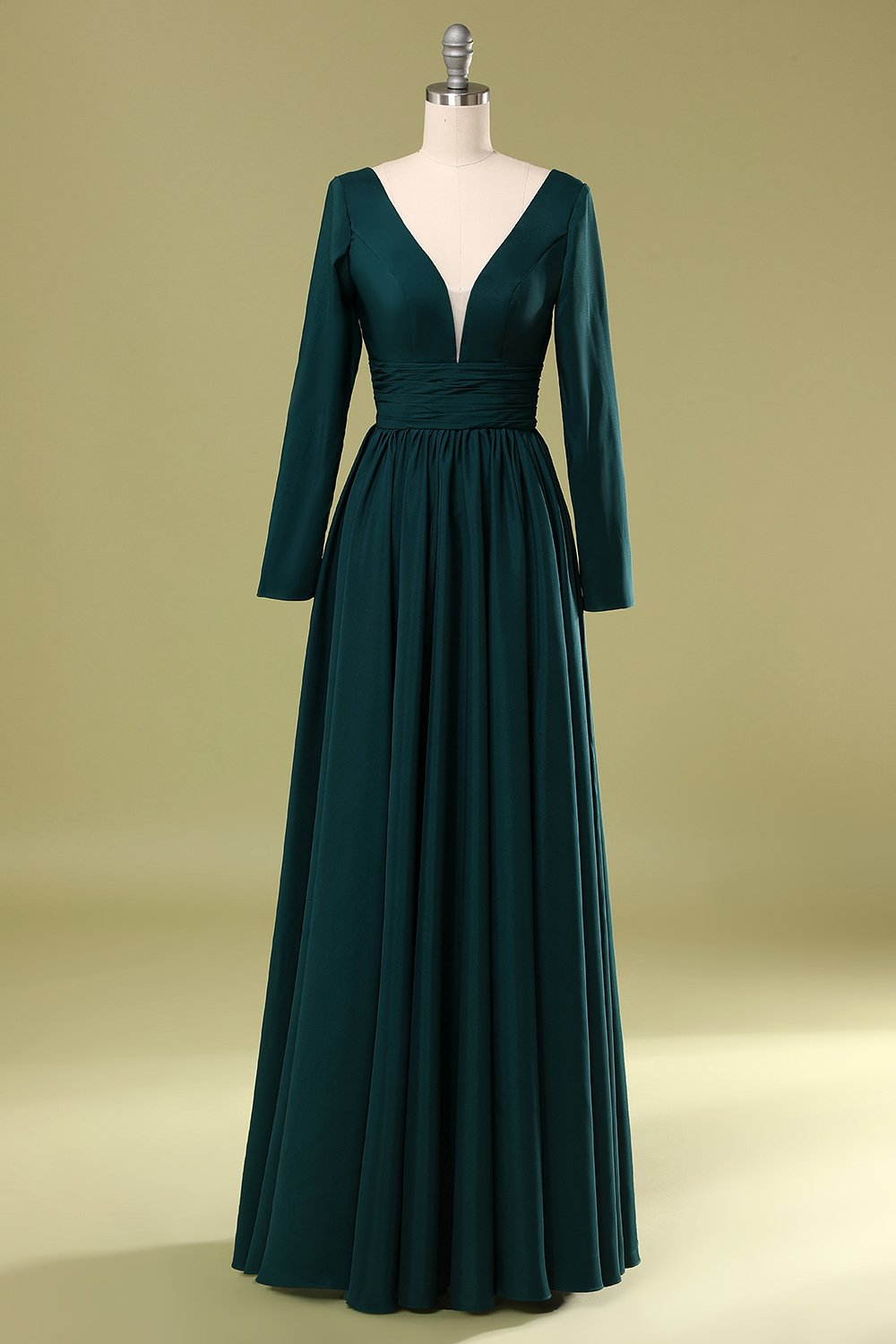 Dark Green V Neck Mother Of the Bride Dress