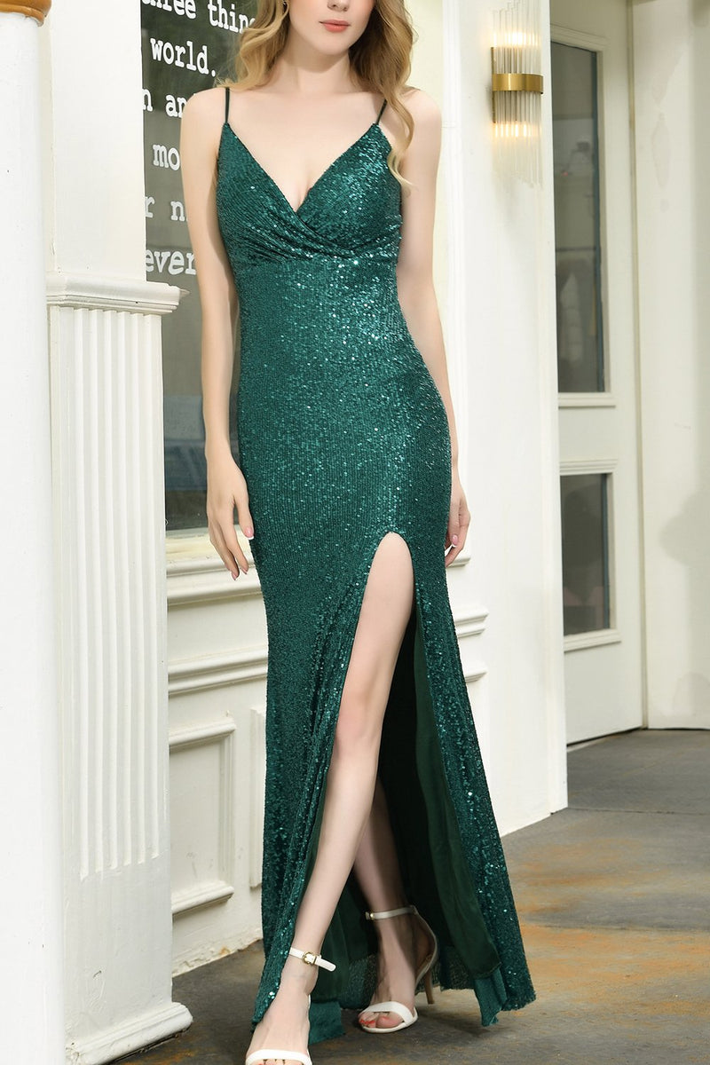 Load image into Gallery viewer, Dark Green Sequin Mermaid Long Prom Dress