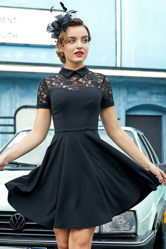 Black High Neck Vintage Dress