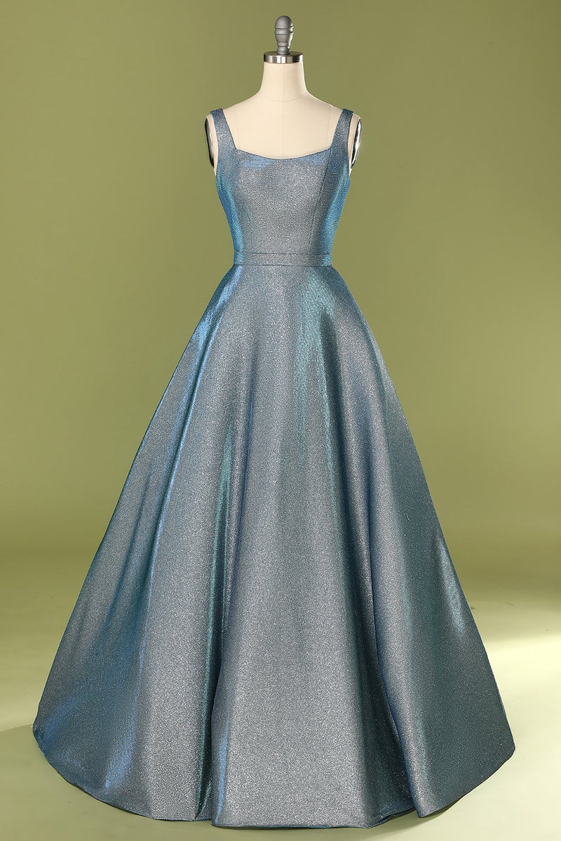 Load image into Gallery viewer, Glitter Blue Open Back Long Prom Ball Dress