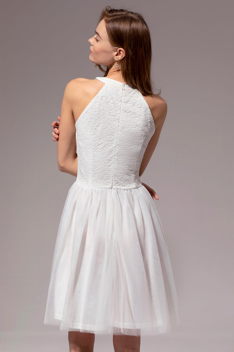 Load image into Gallery viewer, White Halter Lace Dress