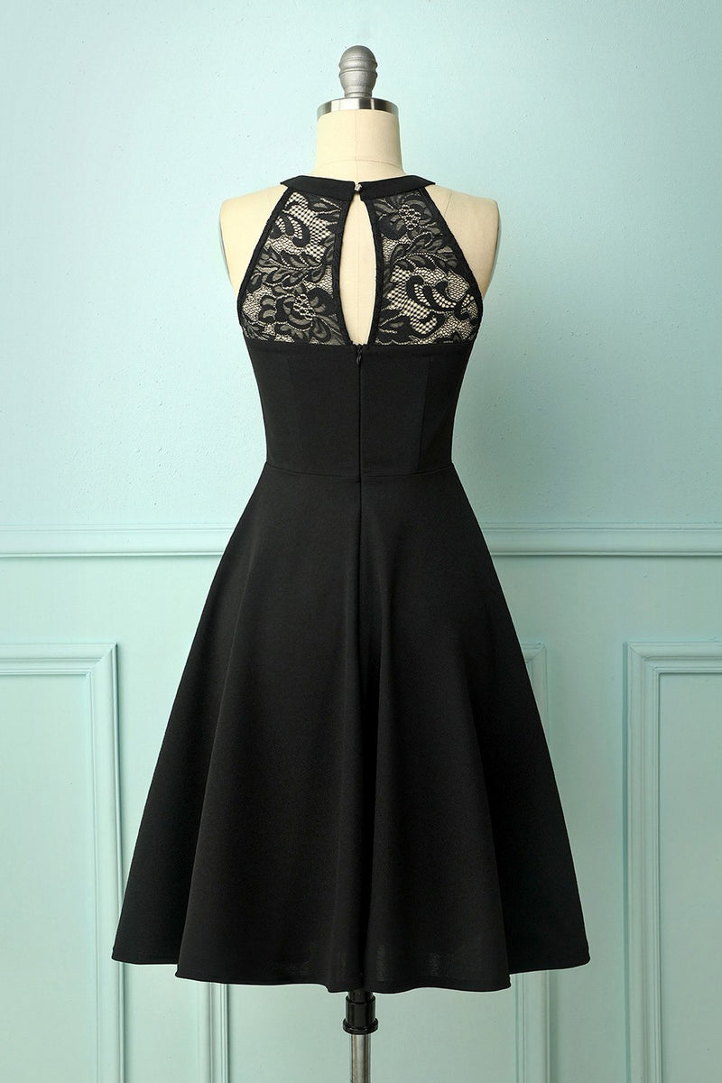 Load image into Gallery viewer, Black Lace Bridesmaid Dress