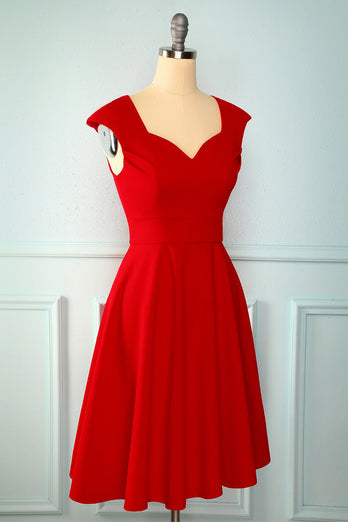 Red Solid Hoco Dress