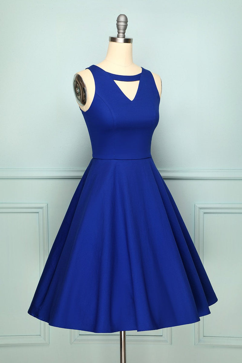 Load image into Gallery viewer, 1950s Dress Royal Blue Swing