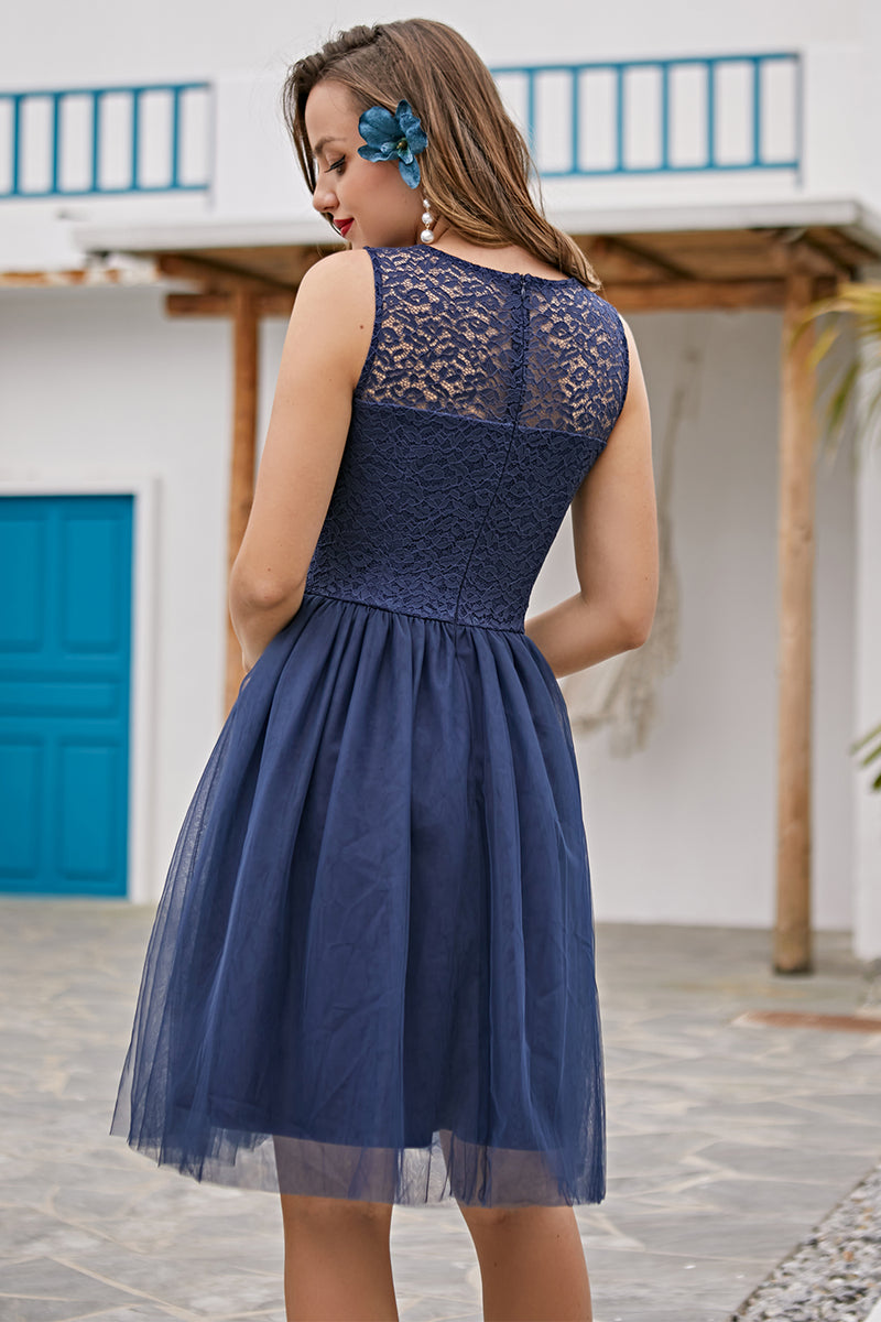 Load image into Gallery viewer, Navy Lace Homecoming Dress