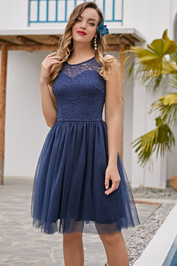 Navy Lace Homecoming Dress