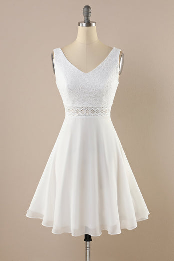 White Lace Chiffon Vintage Dress