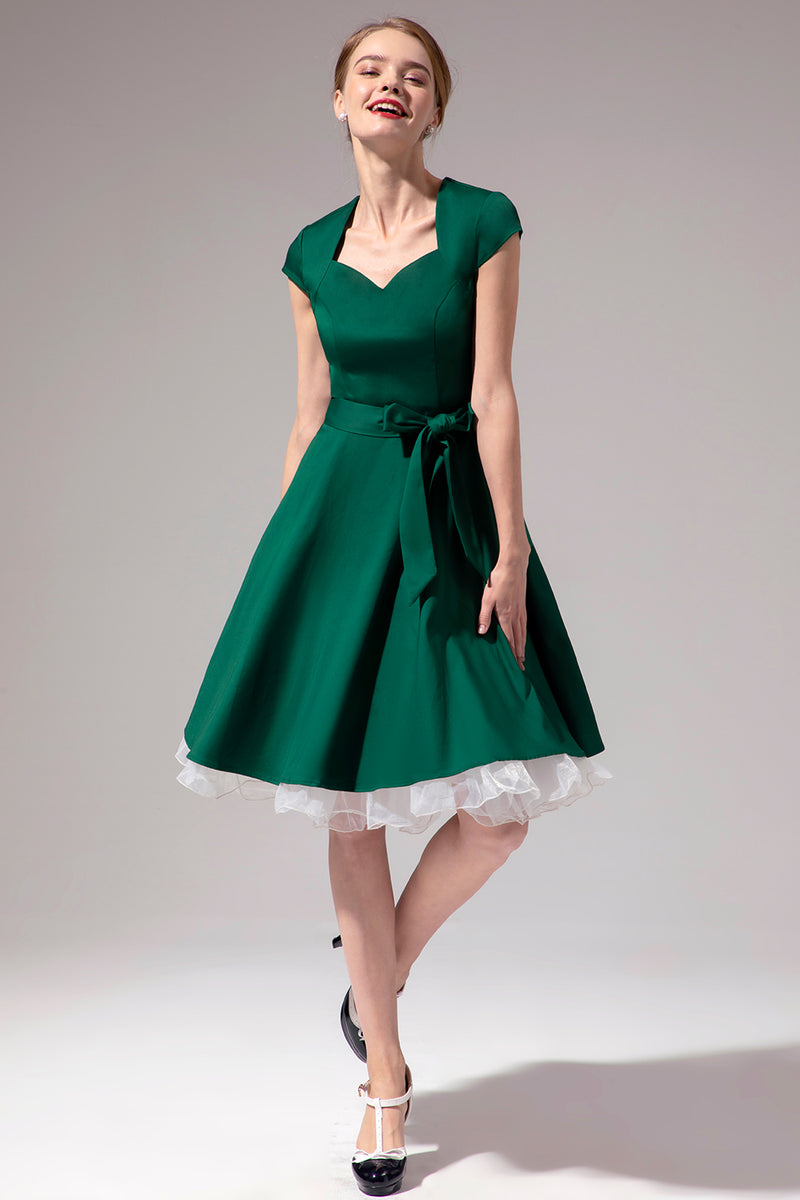 Load image into Gallery viewer, Green Scoop Pin Up Dress
