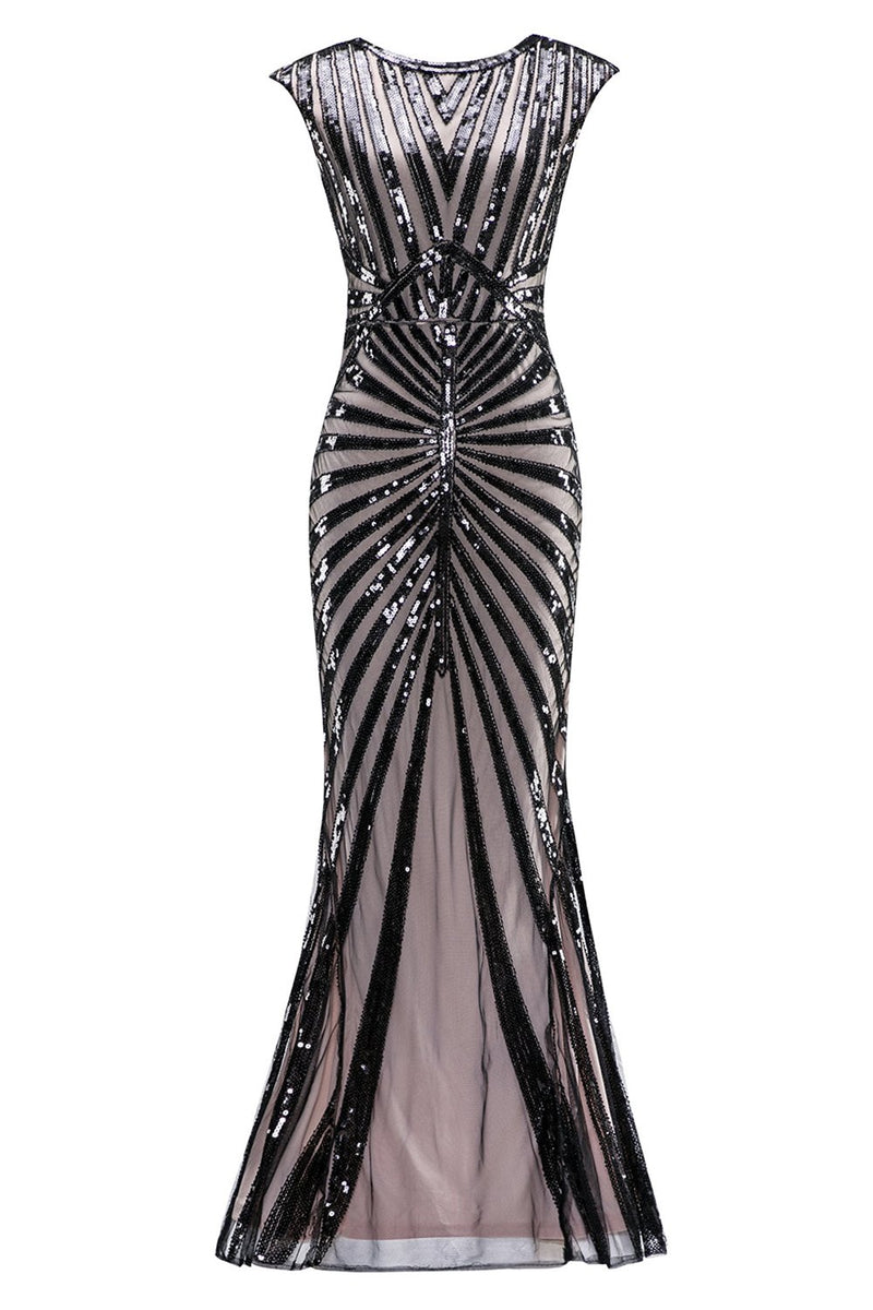 Load image into Gallery viewer, Mermaid Black 1920s Sequined Flapper Dress