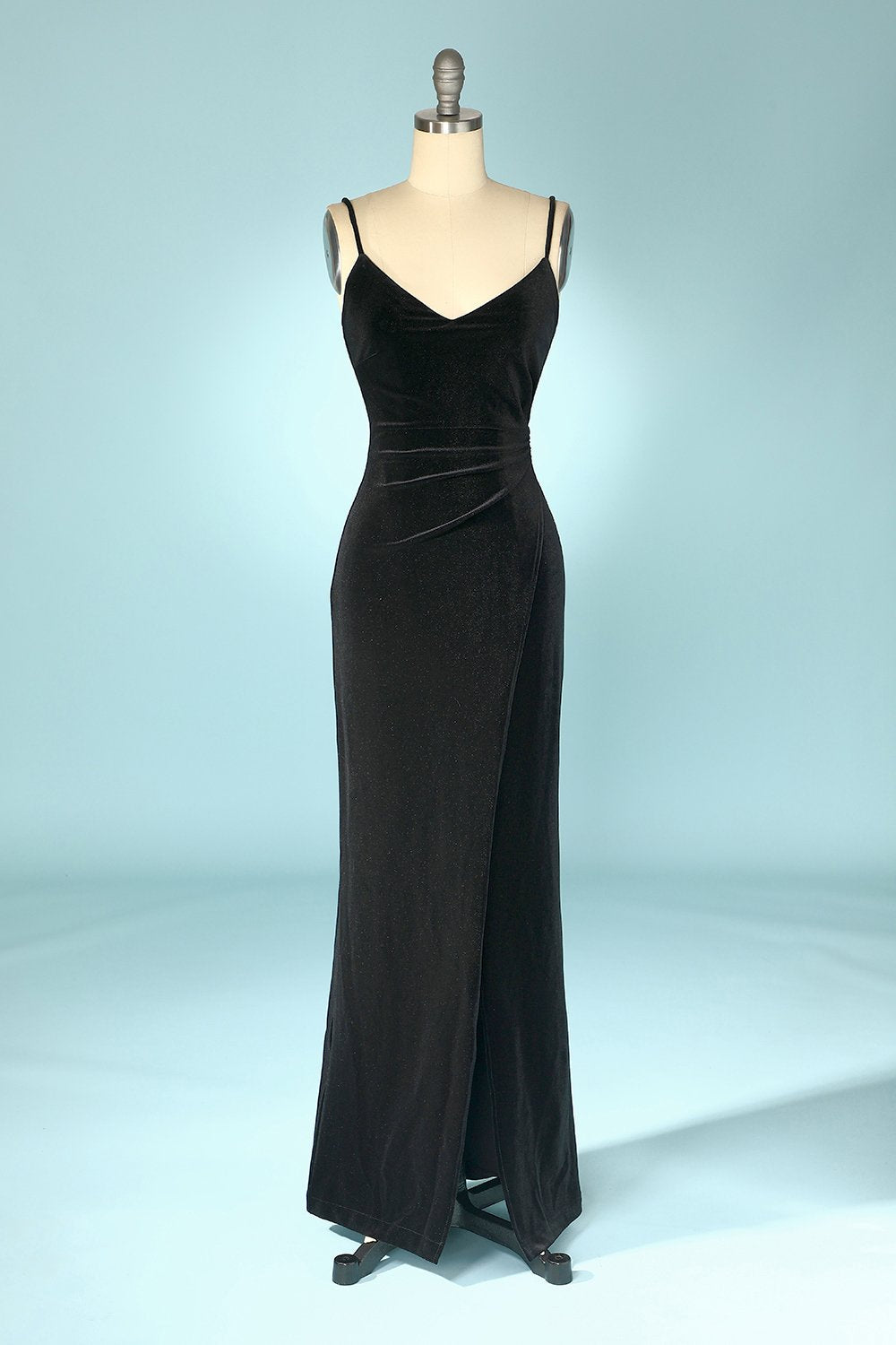 Black Velvet Evening Party Dress