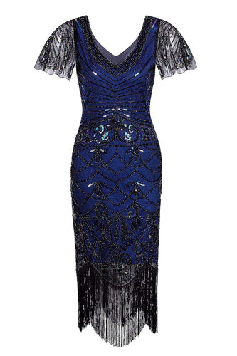 Navy Blue V Neck Sequin Fringe Flapper 1920s Dress