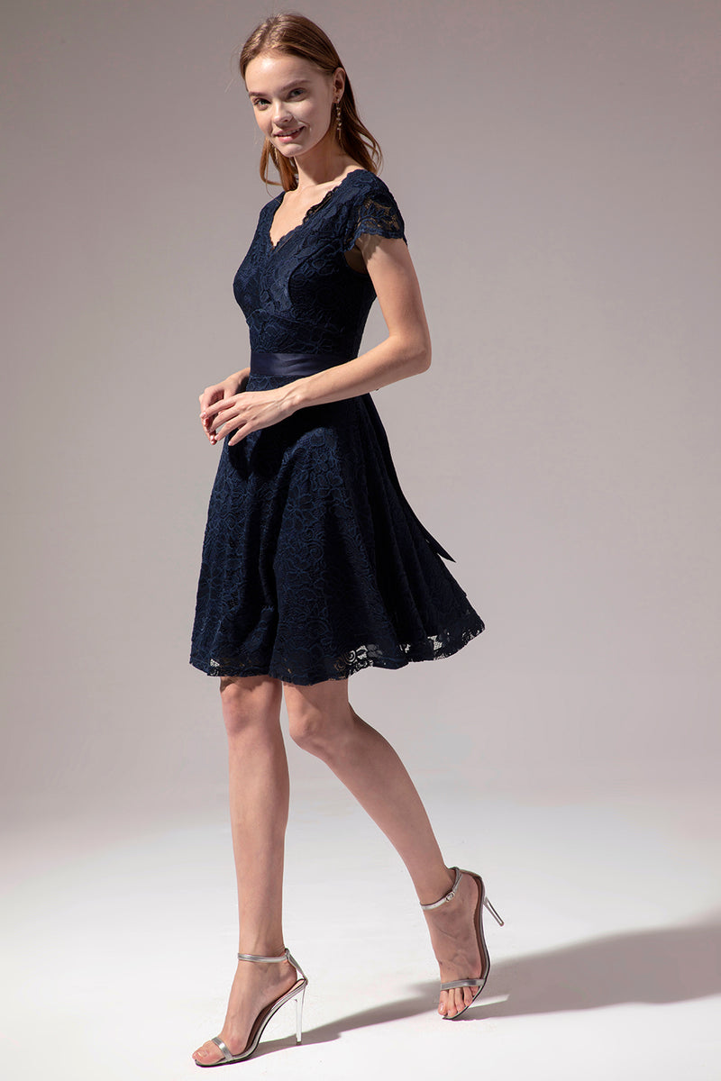 Load image into Gallery viewer, Navy Lace V-neck Dress