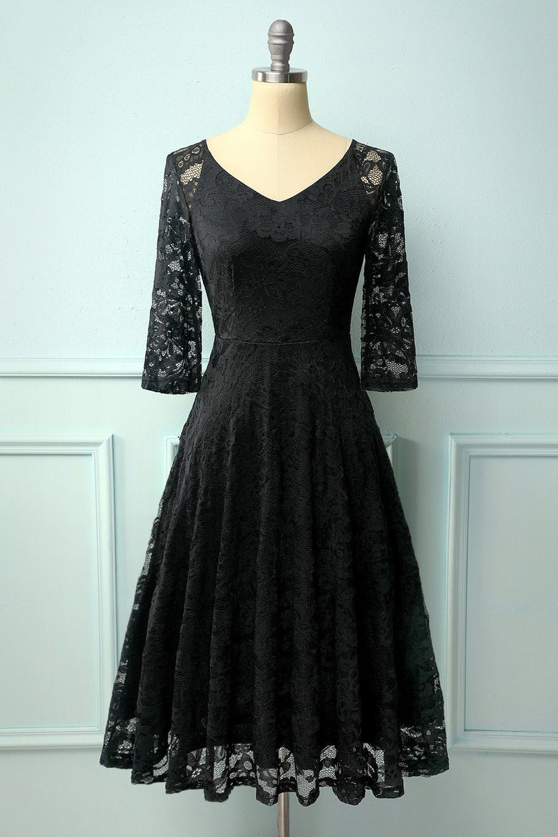 Load image into Gallery viewer, Black Lace Midi Dress