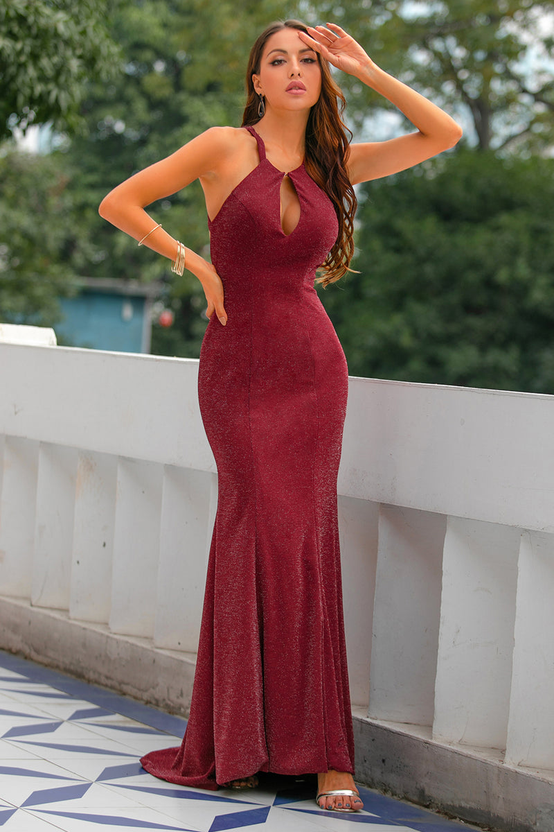 Load image into Gallery viewer, Burgundy Glitter Keyhole Mermaid Prom Dress