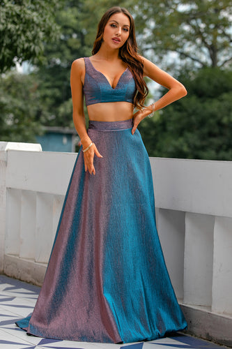 Blue Glitter Two Piece Long Prom Dress