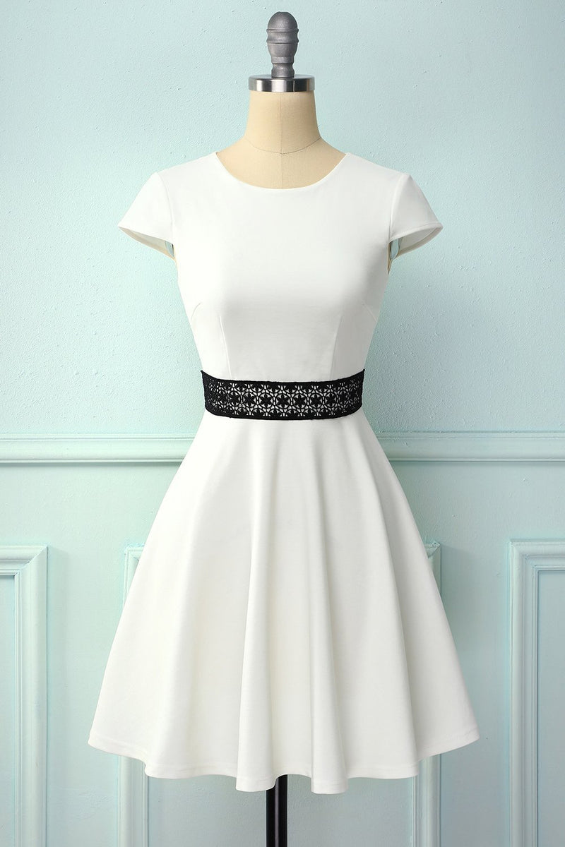 Load image into Gallery viewer, White Dress With Hollow Lace