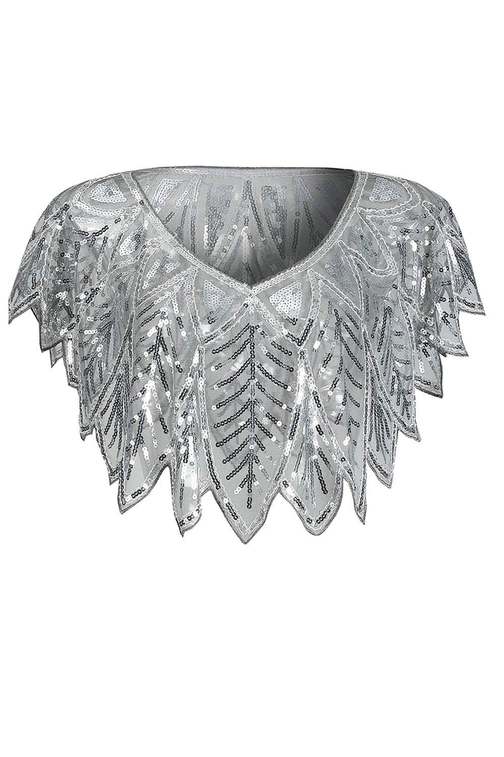 Grey Sequin Glitter 1920s Cape