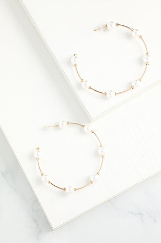 White Circle Earrings