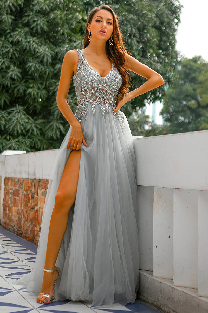Load image into Gallery viewer, Grey V Neck Beaded Long Prom Dress