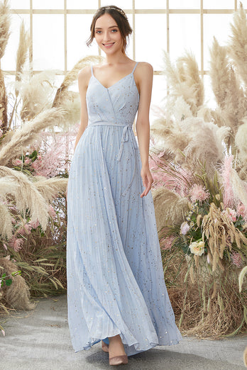 Light Sky Blue V Neck Glitter Prom Dress