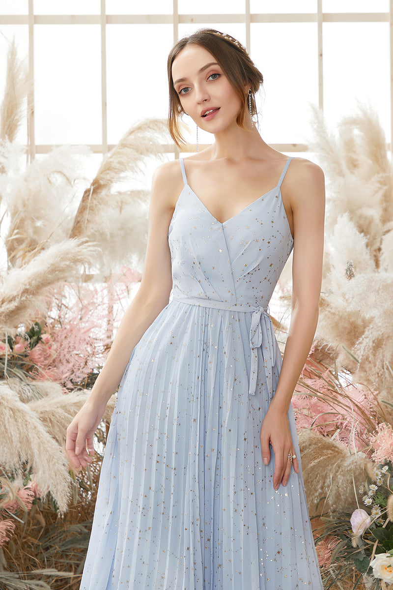 Load image into Gallery viewer, Light Sky Blue V Neck Glitter Prom Dress