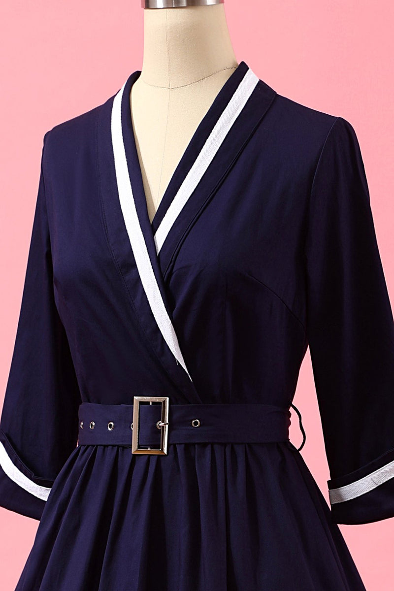 Load image into Gallery viewer, Navy Blue Patchwork V Neck Casual Wrap Dress